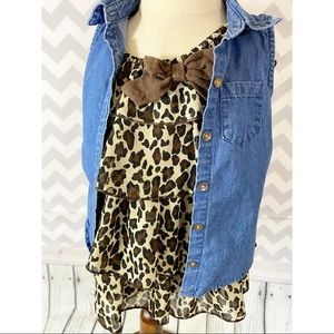 Leopard ruffled dress and denim top outfit girl 3T